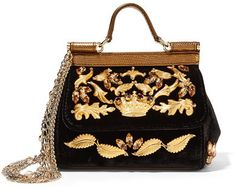 Dolce & Gabbana - Sicily Mini Embellished Velvet And Metallic Leather Shoulder Bag - Black