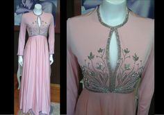 Vintage 1950s Victoria Royal Ltd Longg Pink Dress Silver Bead Great Condition Metal Zipper Cocktail Gown Pink by WestCoastVintageRSL, $198.00