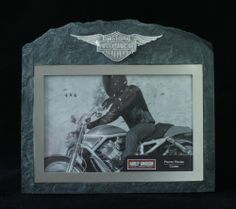 "Harley Davidson Art Glass Motorcycle Biker Photo Picture Frame Hallmark 4"" x 6"""