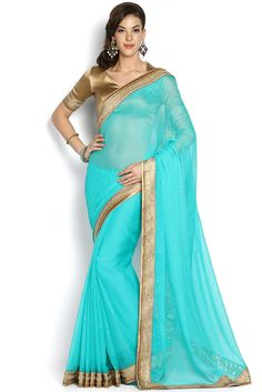 Soch Teal & Gold-Toned Georgette Saree - SEVA SR 12010