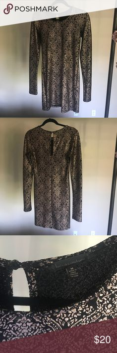 Urban outfitters black long sleeve bodycon dress Urban outfitters black long sleeve bodycon dress with rose gold print Urban Outfitters Dresses Long Sleeve