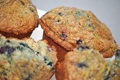 Blueberry Muffins made with whole Grain wheat flour and wheat germ.