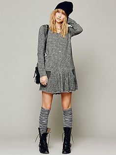 Free People. dress with knee socks and combat boots.