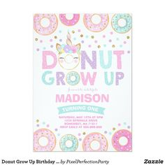 Donut Birthday Parties, Donut Party, Birthday Party Themes, Birthday Ideas, Girl First Birthday, Unicorn Birthday, Pink Birthday, Birthday Stuff, 7th Birthday