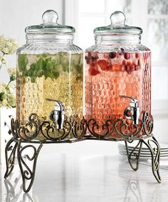 This Hammered Beverage Dispenser Set by Home Essentials and Beyond is perfect! #zulilyfinds
