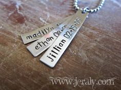 Hand Stamped Mother Necklace with Three Nickel Silver by Jeraly, $22.00