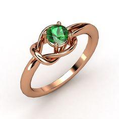 Round Emerald 14K Rose Gold Ring - Hercules Knot Ring   Gemvara