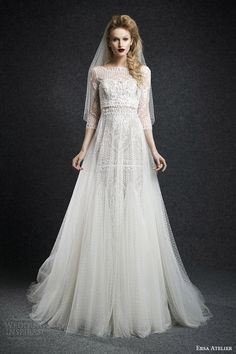Ersa Atelier Fall 2015 Wedding Dresses | cassandra bateau neck wedding dress sheere tulle overlay skirt