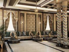 Moroccan Lounge, Moroccan Decor Living Room, Moroccan Interiors, Luxury Homes Interior, Luxury Decor, Home Interior Design, Living Room Wall Designs, Arabian Decor, Smart Home Design