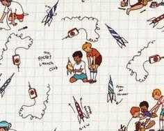 """Patchworkstoff """"Children at play"""" mit spielenden Kindern und Raketen, wollweiß-braun"""