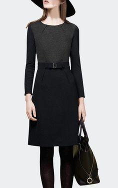 Shirred Long Sleeve Dress