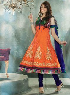 USD 112.78 Orange Resham Work Anarkali Salwar Kameez   33952