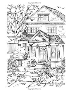 Creative Haven Autumn Scenes Coloring Book (Adult Coloring) Teresa Goodridge: Books Fall Coloring Pages, Adult Coloring Book Pages, Coloring Sheets, Coloring Books, Harvest Crafts For Kids, Free Adult Coloring, Autumn Scenes, House Drawing, Halloween Coloring