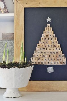 Easy Scrabble Tile Christmas Tree Project Looking for an easy project you can make in an hour? Here are the step-by-step instructions to make this DIY Scrabble Tile Christmas tree. Merry Christmas, Winter Christmas, All Things Christmas, Christmas Home, Christmas Ornaments, Christmas Vacation, Christmas Music, Christmas Tree Crafts, Christmas Island