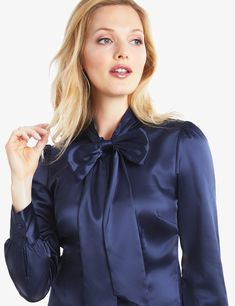 8d1b94ec82c34 Women s Navy Fitted Luxury Satin Blouse - Pussy Bow on sale in Hawes and  Curtis