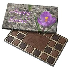 Spring Purple & Yellow Crocus Flower Happy Easter Assorted Chocolates - photography picture cyo special diy