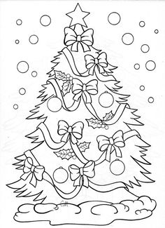 Christmas tree – coloring page: Make your world more colorful with free printable coloring pages from italks. Our free coloring pages for adults and kids. Christmas Tree Coloring Page, Christmas Coloring Sheets, Coloring Book Pages, Printable Coloring Pages, Disney Christmas, Christmas Art, Unique Christmas Trees, Beautiful Christmas, Illustration Noel