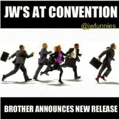 JW'S at convention. Brother announces new release.