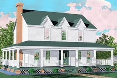 3 bedroom house plan with wrap around porch
