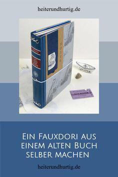 Aus einem alten Buch kannst du ein ganz besonderes Notizbuch mit austauschbaren Seiten machen, ein Fauxdori. Die Anleitung dafür findest du hier. Midori, Cover, Books, Paper, Handmade Books, Old Books, Notebook, Repurpose, Libros