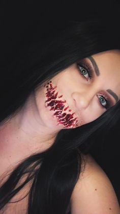 """""""Speak No Evil"""" ripped mouth makeup inspired by Mykie Evil Makeup, Haunted Maze, Medusa Tattoo, Fantasy Makeup, Halloween Makeup, Horror, Make Up, Cosplay, Inspired"""