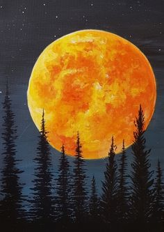"""Blood Moon Rising Blood Moon Rising Paint Nite painting """"Blood Moon Rising"""" by artist Chloe Jensen from Sylvan Lake, AB, Canada. Cute Canvas Paintings, Small Canvas Art, Simple Acrylic Paintings, Acrylic Painting Canvas, Art Sur Toile, Moon Painting, Aesthetic Painting, Beginner Painting, Painting Videos"""