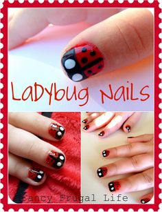 Ladybug Nails Tutorial by Fancy Frugal Life. For when bella is old enough to paint her nails.