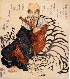 Hattara Sonji with his white tiger. ca.1830 by Kuniyoshi