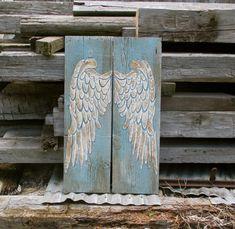 Angel Wings Wood Angel Wings Wing Wall Decor von AuntGaylesREstore