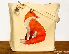 Red Fox Illustration Large Canvas Tote Bag. £14.00, via Etsy.