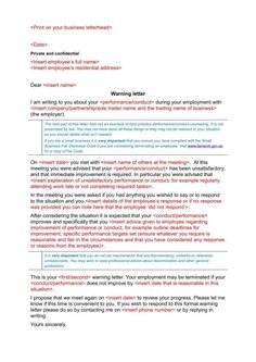 Work Warning Letter Template Free Samples Examples Formats Late For Example