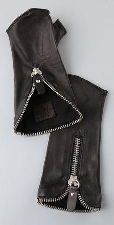 Giuseppe Zanotti Leather Fingerless Gloves with Exposed Zipper
