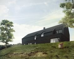 czarny dom skarpa Contemporary Architecture, Architecture Design, Modern Barn House, Black Barn, Exterior Cladding, Cabin Homes, Next At Home, Black House, New Builds