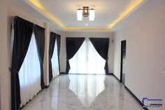 Affordable three-bedroom bungalow - Ulric Home White Wall Paint, One Storey House, Adams Homes, Off White Walls, Three Bedroom House, Stone Cladding, Black Curtains, Dark Interiors, Bungalow