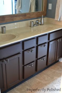 We Used Gel Stain Barely Any SANDING On Our Oak Cabinet In Our - Staining bathroom cabinets