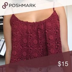Maroon Lace Crop Top Tank Maroon/dark red crop lace crop top from Pac Sun, LA Hearts, size S PacSun Tops Tank Tops
