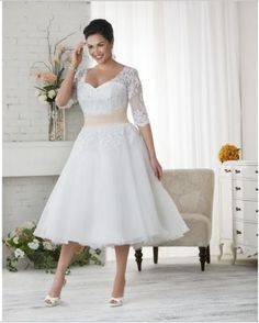 Half Sleeve Short Lace Wedding Dress Bridal Gown Custom Size 4 6 8 10 12 14 16+