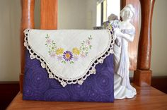 Purple clutch doily clutch embroidered purse by RobynFayeDesigns
