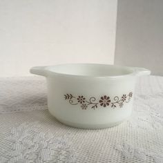 Milk Glass Ovenware / Dynaware PyroRey Brown Daisy Vintage Custard Dish by vintagepoetic on Etsy
