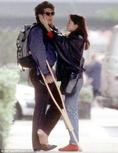 Young love: John F Kennedy Jr pictured with then-girlfriend Christina Haag in after he tore ligaments in his ankle. The couple dated for five years John Kennedy Jr, Carolyn Bessette Kennedy, Jfk Jr, John Junior, John Fitzgerald, Young Love, Good Looking Men, Actors & Actresses, 1990s