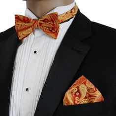 cab7d08325e15 Red and Gold Paisley Bow Tie and Pocket Square by Paul Malone (BT695H)  Pocket