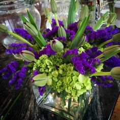 Limonium and tulips