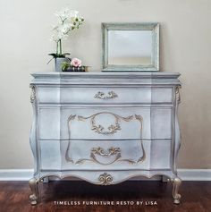 Done in 5 colors using a watercolor blending technique.  #chalkpaint #blending #technique  #paintedfurniture #frenchprovincial