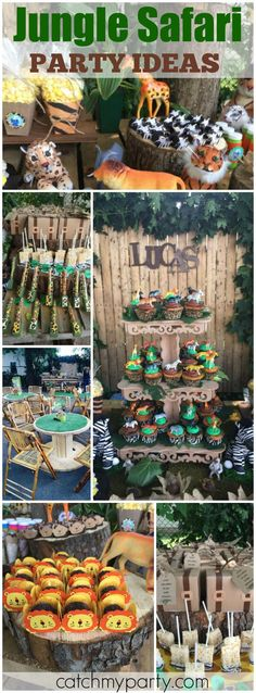 So many great ideas at this fantastic jungle safari party! See more party ideas at CatchMyParty.com! More
