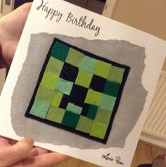 handmade minecraft birthday card