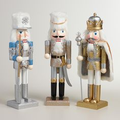 Glittered Traditional Nutcrackers, Set of 3 | World Market