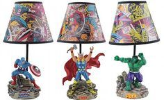 Captain America, Thor and Hulk Statue Lamps