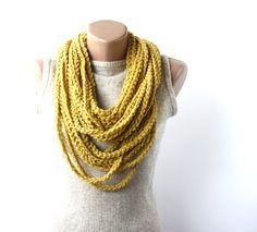 Infinity circle scarf - mustard yellow autumn fall fashion. $14.00, via Etsy.
