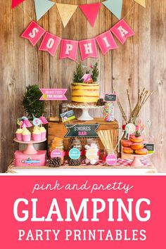 Put the 'glam' in Glamping! Gorgeous pink glamping party theme - all text is editable! Birthday Party Themes, Girl Birthday, 10th Birthday, Birthday Ideas, Diy Party, Party Ideas, Sleepover Party, Party Printables, Glamping