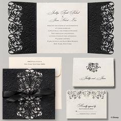 Elegant ribbon tied wedding invitation | Disney Fairytale Wedding Invitations: Belle